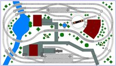One compact layout project for short passenger and freight trains with two stations and a turntable with roundhouse. Ho Train Layouts, N Scale Layouts, Ho Model Trains, Ho Trains, Model Railway Track Plans, Train Room, Standard Gauge, Train Set, Train Tracks