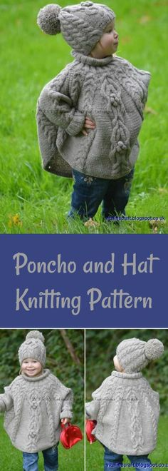 This is adorable! I want a matching set. #ad #knitting #poncho #pattern
