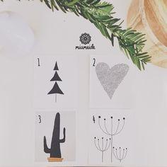 Illustrationen - Karte Illustration Tanne Kaktus Blume Herz - ein Designerstück von miameideblog bei DaWanda