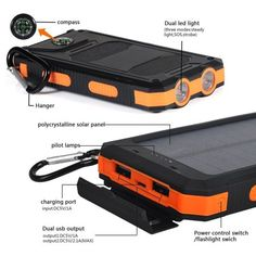 Waterproof Dual USB Portable Solar Battery Charger Solar Power Bank for iPhone, Mobile Cell Phone-Orange Image 4 of 7 Solar Power Energy, Portable Solar Power, Solar Battery Charger, Solar Panel System, Lead Acid Battery, Usb, Iphone Mobile, Solar Camping, Orange