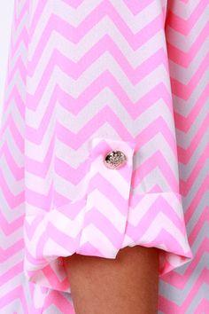 Cute Hot Pink Top - Chevron Print Top - Striped Top