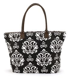 "Large Indian dhurrie tote with damask black & white print on canvas. Perfect for a summer beach tote.  14"" x 7"" x 12"" zipper top closure inside pockets and"