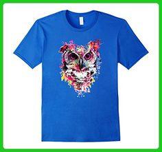 Mens Owl T-Shirt, Watercolor Splash Love Owl  Tee Shirt 2XL Royal Blue - Animal shirts (*Amazon Partner-Link)