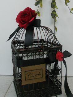 #blackwhitewedding http://www.etsy.com/listing/101047657/birdcage-wedding-card-holder-card-holder?category=weddings.decor