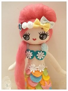 Japanese Vintage Pose Doll, Big Eyes Dolly, Mermaid doll, RESERVED for Shan on Etsy, $21.00