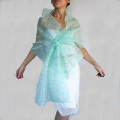 Mint Green Beaded Organza Stole Scarf Teal Acqua Shoulder