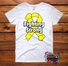 Yellow Ribbon Fighting Strong Shirts (Adenosarcoma, Endometriosis, Ewings Sarcoma, Osteosarcoma, Sarcoma, Spina Bifida)