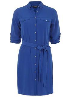 Cobalt Belted Shirt Dress