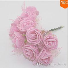 Kostenloser Versand 2,5 Cm Kopf Multicolor Pe Schaum Mini Blume Bouquet Mit Organza Einfarbig Künstlichen