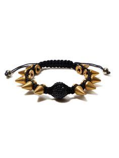 Very Me Spikes Black Woven Cord & Crystal Bracelet