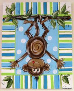 monkey canvas pictures | Hand painted Monkey Painting Children's Canvas by SassyfrasDesignz