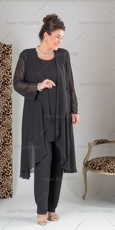 Wedding Outfit Pants Plus Size plus size elegant black three picec mother of the bride chiffon pant suits with long jacket 2014 Mother Of The Bride Suits, Mother Of Bride Outfits, Mother Of Groom Dresses, Mothers Dresses, Mother Of The Bride Dresses Plus Size, Wedding Dresses Plus Size, Plus Size Wedding, Plus Size Dresses, Plus Size Outfits