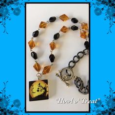 """Howl o' Treat- 18"""" Halloween Necklace; OOAK Glass Tile Pendant - pinned by pin4etsy.com"""