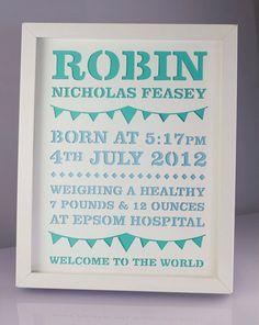 New baby papercut gift