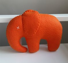 Large Orange Felt Elephant by RecklessSerenade on Etsy