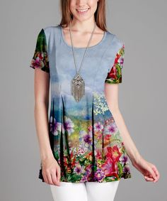 Blue & Pink Floral Pleated Scoop Neck Tunic - Plus Too