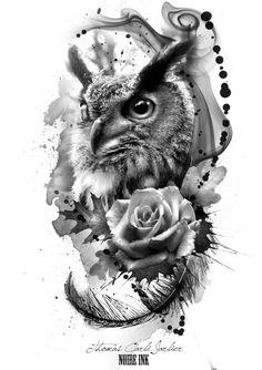 hier finden sie eine idee für einen owl tattoo ein großer schwarzer uhu mit schwarzen federn und augen und eine große schwarze rose