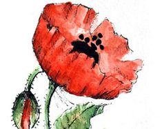 Original Watercolor Poppy Flower Art Hand Painted Red Poppy Flower Art