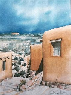 Mexico Art, New Mexico, Watercolour Painting, Watercolors, Southwestern Art, Adobe House, Hacienda Style, Watercolor Techniques, Outdoor Art