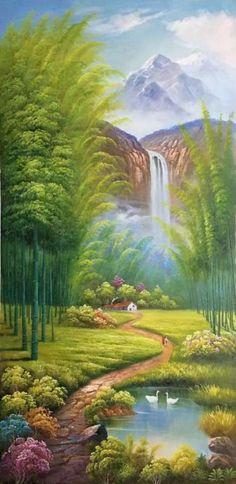 Painting Mountain Canvas New Ideas Landscape Art, Landscape Paintings, Graffiti Kunst, Mountain Paintings, Mural Art, Wall Murals, Wall Art, Beautiful Paintings, Painting Inspiration