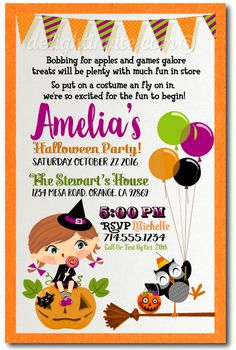 Kids Halloween Costume Party Invitations Theme Birthday Invites For Printed