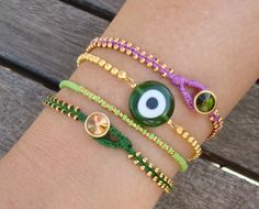 FREE SHIPPING Evil Eye Beaded Friendship Bracelet Set by cocolocca, $22.00
