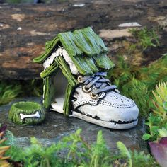 Baby Shoe Dog House And Bowl - My Fairy Gardens