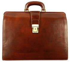 Leather Briefcase, Leather Doctor Bag, Lawyer Bag Large Brown - Time Resistance. DESIGN - The Firm is the embodiment of stature. It conveys prominence, value, prestige all by itself. Do you think you would dare to mess around with a person that's holding on to that? A genuine leather briefcase for those, who are expected to look intimidating, expensive and dashing at the same time. Strictly business. BETTER SAFE THAN SORRY • Reliable brass hardware. • Push button closure with a decorative…