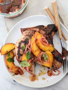 Grilled Pork Chops with Spicy Balsamic Grilled Peaches - foodiecrush