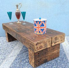 ♥ RAILWAY SLEEPER Hand Made Rustic Reclaimed Pine Plank Top Coffee Table ♥