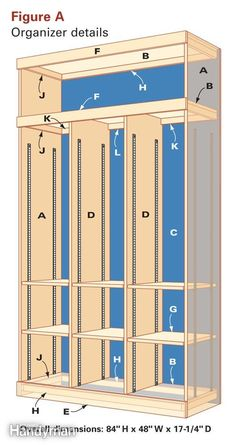 Figure A: Organizer Details; DIY mud room lockers. I like adjustable shelves inside. #lockers #hallway