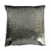 """Sequin cushion 20x20"""" Black"""