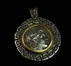Alexander Lysemachus, AR Tetradrachm, grams, set in sterling silver and gold pendant with ruby. Custom Jewelry Design, Coin Jewelry, Crests, Coin Pendant, Seals, Pocket Watch, Coins, Pendants, Personalized Items