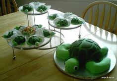 Turtle cake and baby turtle cupcakes (to be made without binkies)