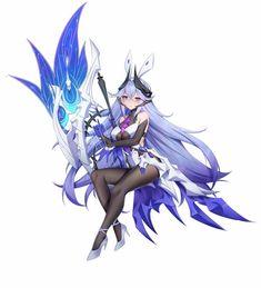 Fantasy Rpg, Fantasy Girl, Kawaii Anime Girl, Anime Art Girl, Fantasy Characters, Anime Characters, Anime Blue Hair, Manhwa, Character Art
