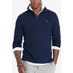 Polo Ralph Lauren Men's Estate Rib Half Zip Sweater ($50) ❤ liked on Polyvore featuring men's fashion, men's clothing, men's sweaters, cruise navy, mens sweaters, polo ralph lauren mens sweater, old navy mens sweaters, mens cotton sweaters and mens half zip sweater
