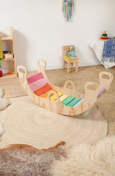 Your place to buy and sell all things handmade - ** THIS ITEM IS MADE TO ORDER. Orders turn around is 6 weeks Estimate deliver time 10 business days* - Wooden Rocker, Birch Ply, Balance Board, Wood Toys, Diy Toys, Rockers, Play Houses, Kids Furniture, Girl Room