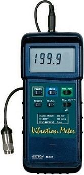Extech 407860-NIST 407860 NIST Heavy Duty Vibration Meter  The Extech 407860 NIST Vibration Meter can take measurements for acceleration, displacement and velocity.  Features NIST Traceable Calibration Ranges Peak Acceleration 656 feet/s2 (200 meters/s2) Peak Velocity 7.87 inches/s (200 millimeters/s) Peak-to-Peak Displacement 0.078 inch (2 millimeters) Vibration sensor (Remote) w/ magnetic adapter and 39 inch (1 meter) cable Broad frequency range 10 Hertz to 1 kiloHertz