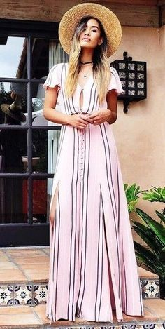 #summer #boho #chic #style | Pink Stripe Maxi Dress