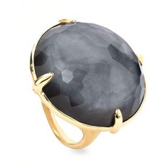 Ippolita 18k Rock Candy Gelato Hematite Ring ($1,365) ❤ liked on Polyvore featuring jewelry, rings, accessories, anillos, gold, 18 karat gold jewelry, ippolita ring, 18k ring, rock jewelry and round cut rings
