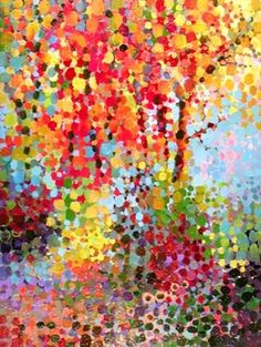 For the Art Auction I wonder if I could take a landscape photograph and paint over it with the dots of color as an exercise in color mixing?  So pretty!