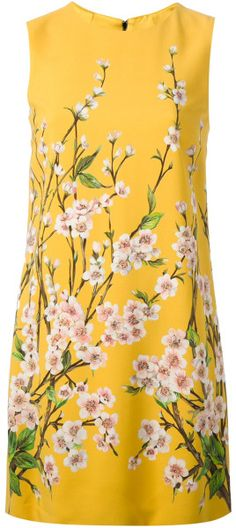 Dolce & Gabbana Yellow Floral Print Shift Dress