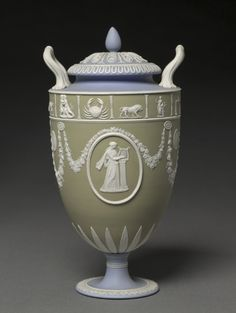 Covered Urn, c. 1900 made by Wedgwood Factory (British) jasper ware with relief decoration, Overall - h:29.90 cm (h:11 3/4 inches).
