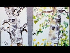 Birch Tree Sketch with Watercolor Tutorial - YouTube
