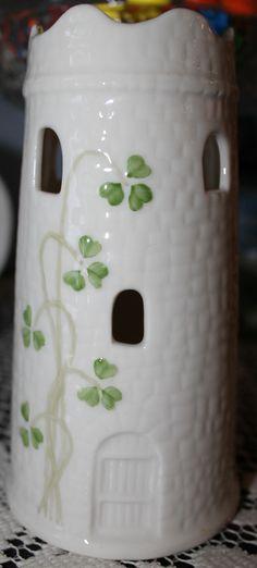 Belleek Castle Tower Vase Handpainted Shamrock Design Unique