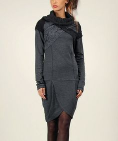 Another great find on #zulily! Anthracite Lace Cowl Neck Tulip Dress #zulilyfinds