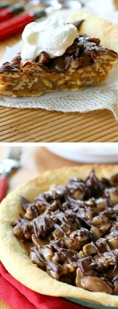 Praline Turtle Pie ~ Layers of caramel, pecans, and chocolate. So easy and decadent.
