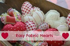 """Easy Fabric Hearts. I use these year round for gifts, just toss some into a gift bag along with the gift, for a little extra """"I Care."""" Kids love them too because they mean love to them. Make them and donate them to nursing homes, hospitals, hospice...anyplace people need a hug."""