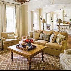 Neutral living room - coffee table made from antique table