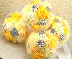 Bridesmaids Brooch Bouquets Brooch Wedding Bouquets in Yellow and White with Handmade Flowers and Brooches. $480.00, via Etsy.